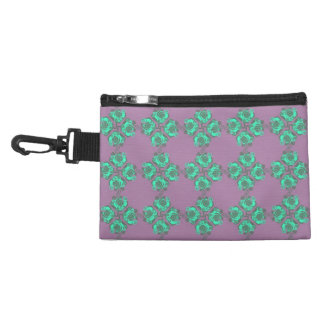Vintage Purple and Teal Floral Print Accessory Bags
