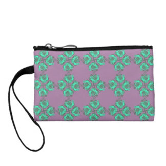 Vintage Purple and Teal Floral Print Coin Wallet