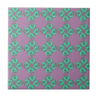 Vintage Purple and Teal Floral Print Ceramic Tile