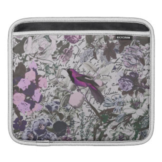 Vintage Purple Bird and Floral Print with Script iPad Sleeve