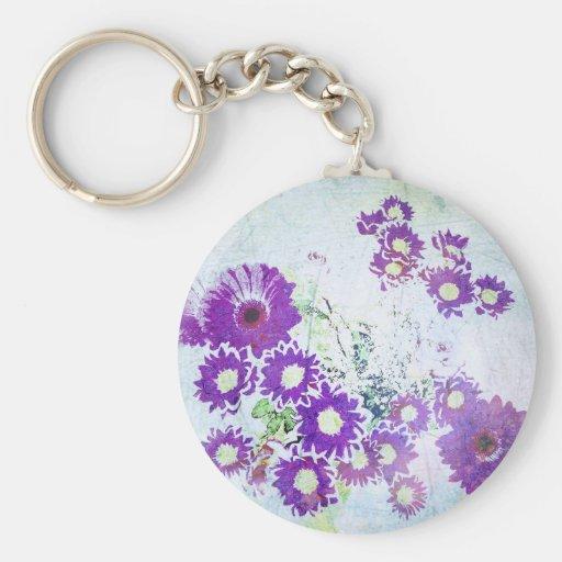 Vintage Purple Blue Flower Blossoms Photo Design Keychain