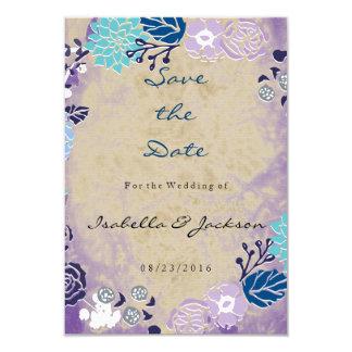 Vintage Purple & Blue Garden Wreath Wedding 9 Cm X 13 Cm Invitation Card