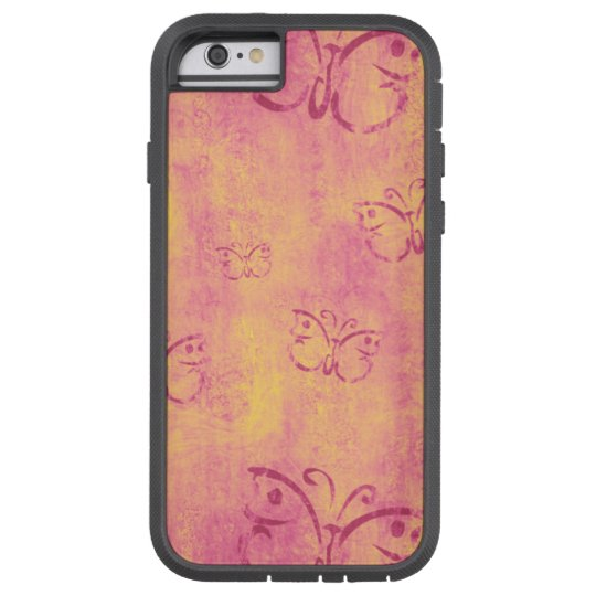 Vintage Purple Butterflies Pattern on Pink Tough Xtreme iPhone 6 Case