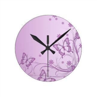 Vintage Purple Butterfly Clock