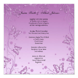 Vintage Purple Butterfly Wedding Invitation