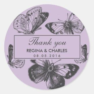Vintage Purple Butterfly Wedding Thank You Sticker