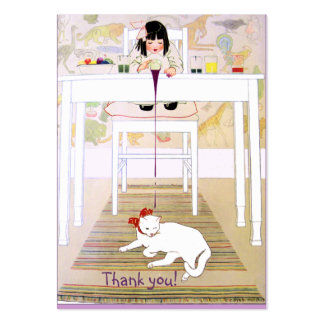 Vintage Purple Cat Thank You Large Business Cards (Pack Of 100)