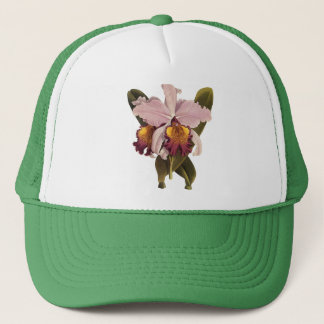Vintage Purple Cattleya Orchid, Tropical Flowers Trucker Hat