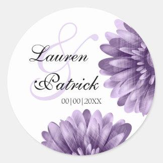 Vintage Purple Daisy Save the Date Round Sticker