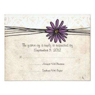 Vintage Purple Daisy Wedding RSVP Card