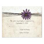 Vintage Purple Daisy Wedding RSVP 11 Cm X 14 Cm Invitation Card
