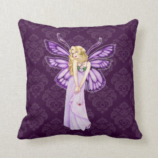 Vintage Purple Damask Butterfly Fairy Personalized Cushion