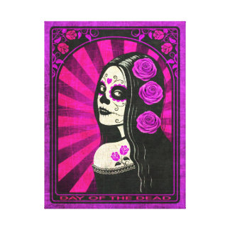 Vintage Purple Day of the Dead Girl Canvas Print