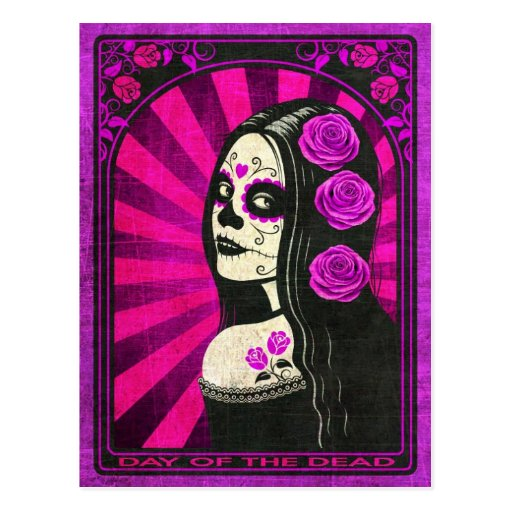 Vintage Purple Day of the Dead Girl Postcards