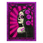 Vintage Purple Day of the Dead Girl Poster