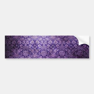 Vintage  Purple Floral  Damask Car Bumper Sticker