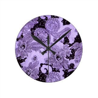 Vintage Purple Floral Fabric Round Clock