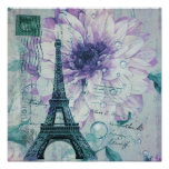 vintage purple floral paris eiffel tower poster