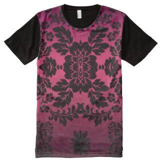 Vintage Purple Floral Pattern All-Over Print T-Shirt