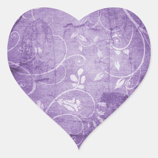 Vintage Purple Floral Pattern Heart Sticker