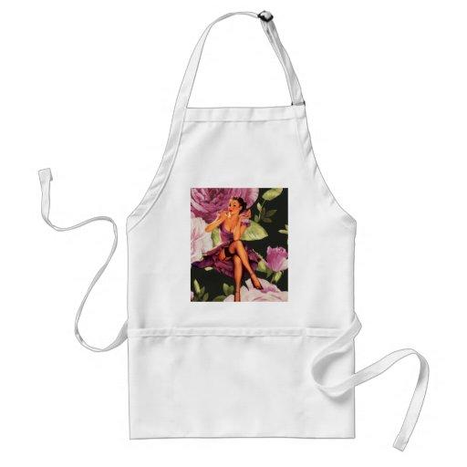 vintage purple floral retro pin up girl fashion apron
