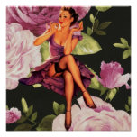 vintage purple floral retro pin up girl poster