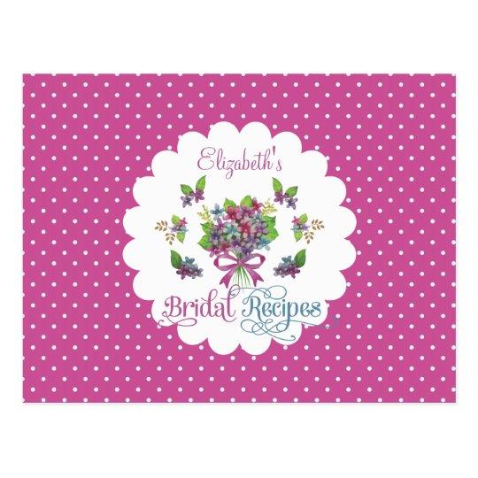 Vintage Purple Flowers Bridal Shower Recipe Card