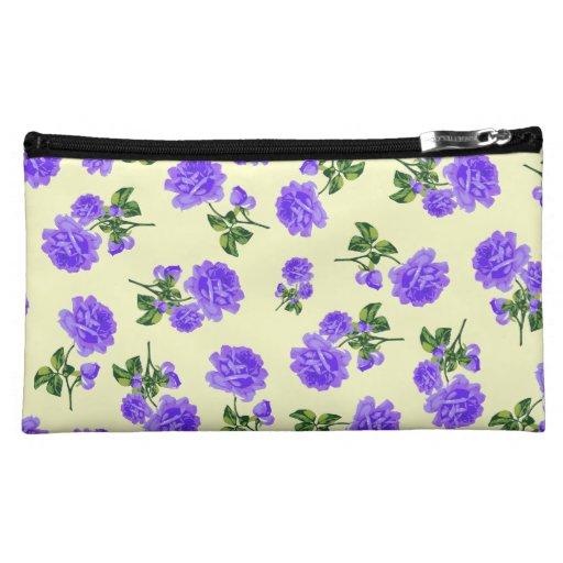 Vintage purple flowers cream cosmetics bag cosmetic bags