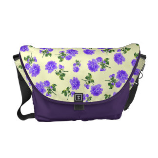 Vintage Purple flowers cream yellow bag Courier Bags