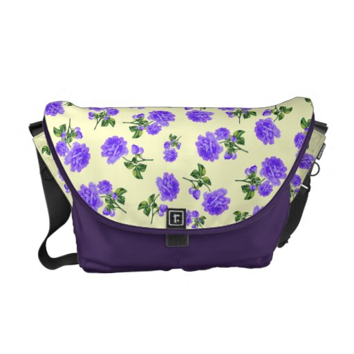 Vintage Purple flowers cream yellow bag Messenger Bags
