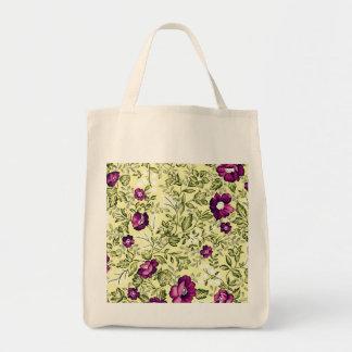 Vintage Purple Flowers Grocery Tote Bag