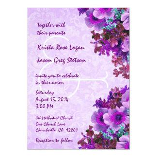 Vintage Purple Flowers Wedding R508 11 Cm X 16 Cm Invitation Card