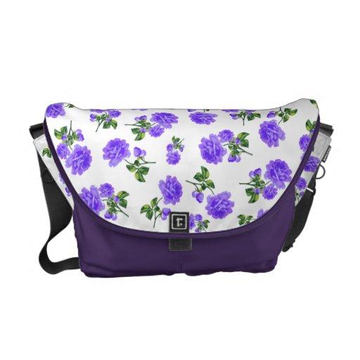 Vintage Purple flowers white bag Commuter Bags