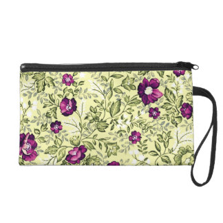 Vintage Purple Flowers Wristlet Purses
