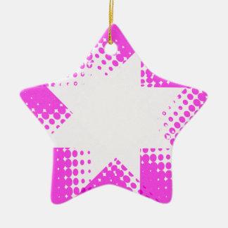 Vintage purple halftone star christmas ornament