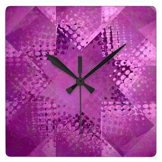 Vintage purple halftone star clock