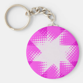 Vintage purple halftone star keychain
