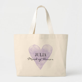 Vintage purple heart maid of honor large tote bag