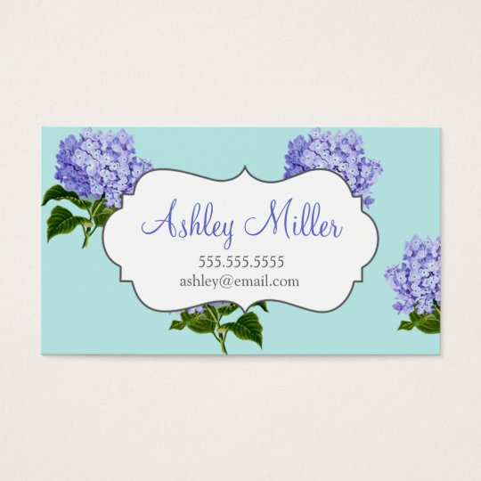 Vintage Purple Hydrangea Business Cards