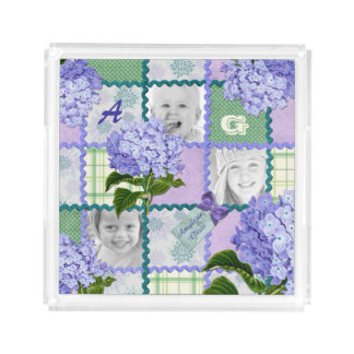 Vintage Purple Hydrangea Instagram Photo Quilt Acrylic Tray