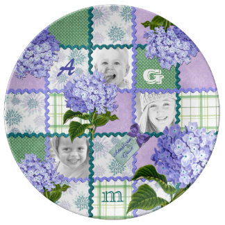 Vintage Purple Hydrangea Instagram Photo Quilt Plate