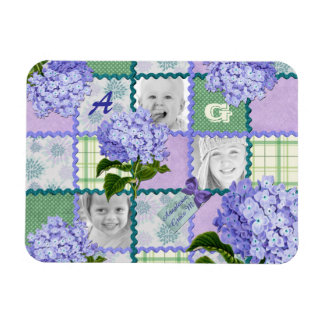 Vintage Purple Hydrangea Instagram Photo Quilt Rectangular Photo Magnet