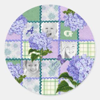 Vintage Purple Hydrangea Instagram Photo Quilt Round Sticker