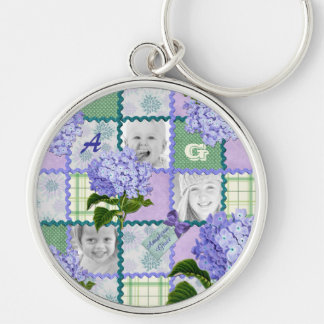 Vintage Purple Hydrangea Instagram Photo Quilt Silver-Colored Round Key Ring