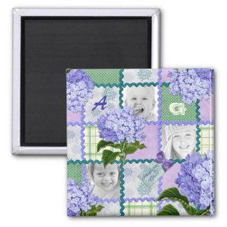Vintage Purple Hydrangea Instagram Photo Quilt Square Magnet