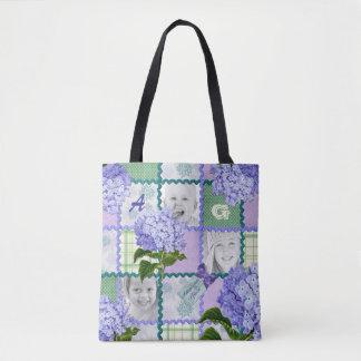 Vintage Purple Hydrangea Instagram Photo Quilt Tote Bag