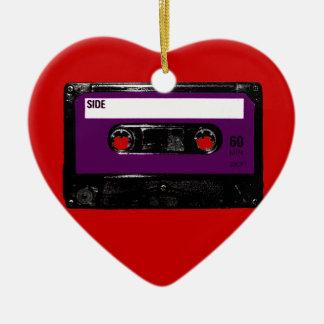 Vintage Purple Label Cassette Ceramic Heart Decoration