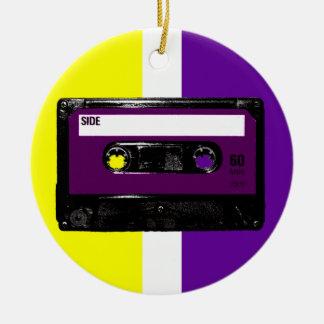 Vintage Purple Label Cassette Round Ceramic Decoration