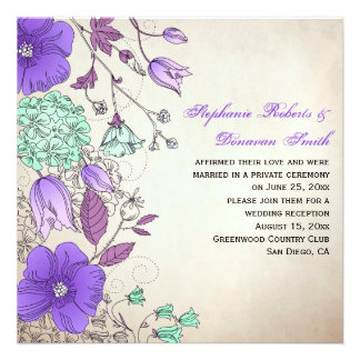 Vintage Purple Lavender Mint Wildflowers Weddings Personalized Invite