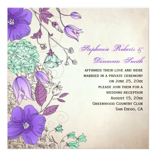 Vintage Purple Lavender Mint Wildflowers Weddings Personalized Invite